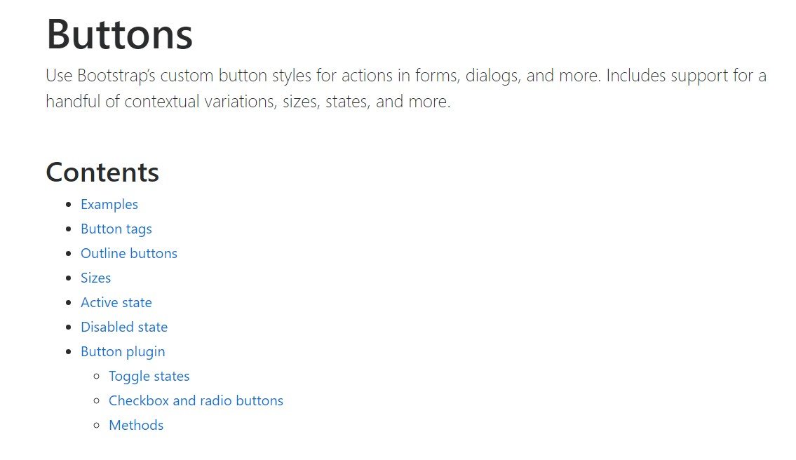 Bootstrap buttons official  information