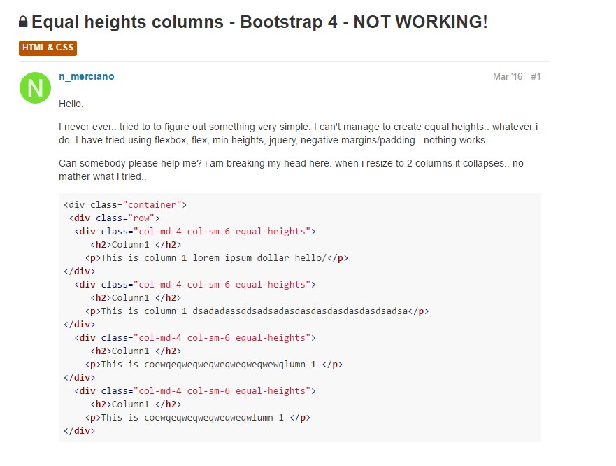 Difficulty with a heights of the Bootstrap columns