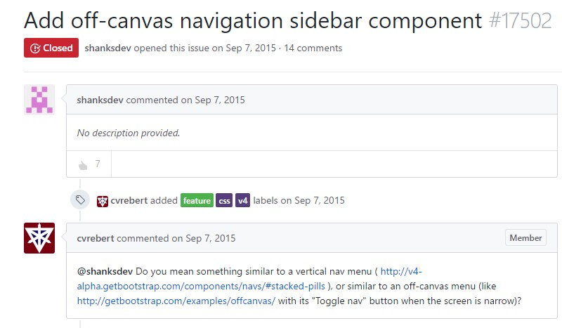 Incorporate off-canvas navigation sidebar  element