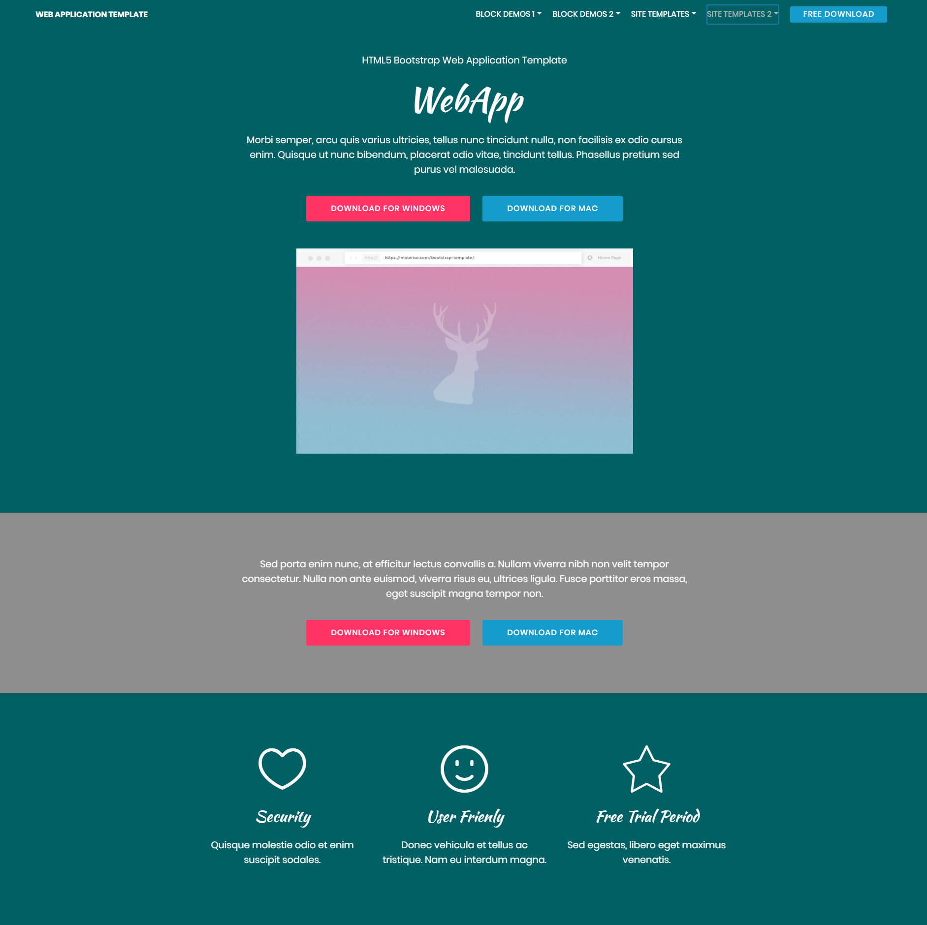 HTML Bootstrap Web Application Templates